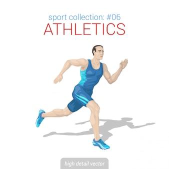 Ilustração de velocista corredor homem atleta.