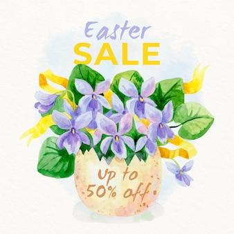 Ilustração de venda de aquarela páscoa