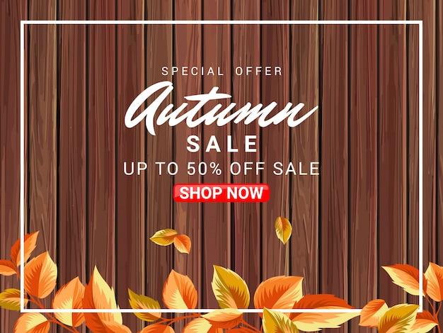 Ilustração de venda de cartaz outono com superfície de madeira
