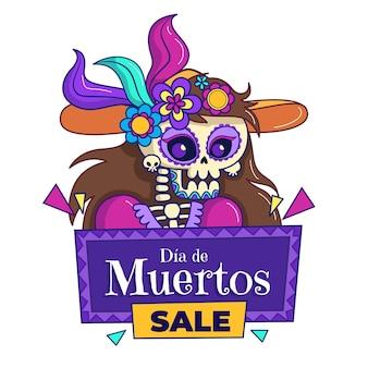 Ilustração de venda de dia de muertos desenhada à mão