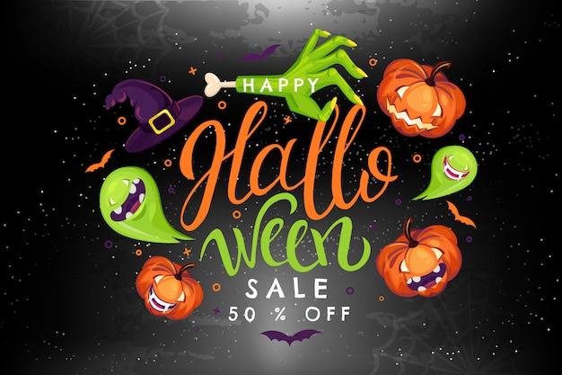 Ilustração de venda de halloween com abóbora, zumbi, bruxa, fantasma, vampiro.