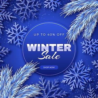 Ilustração de venda de inverno em estilo realista