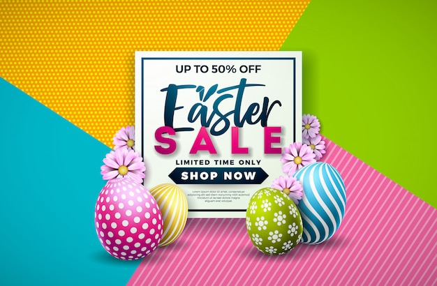 Ilustração de venda de páscoa com ovo e flor de primavera