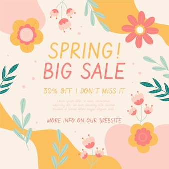Ilustração de venda de primavera desenhada à mão