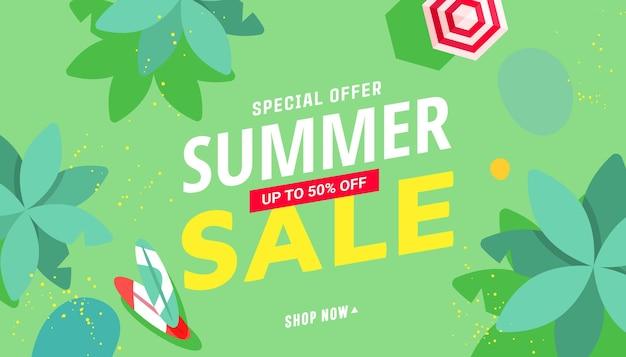 Ilustração de venda de verão com acessórios de praia tropical, palmeiras