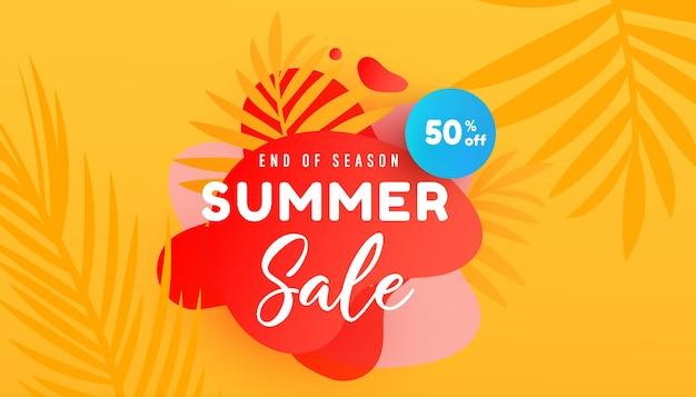 Ilustração de venda de verão com banner de promoção de fundo padrão de folhas tropicais