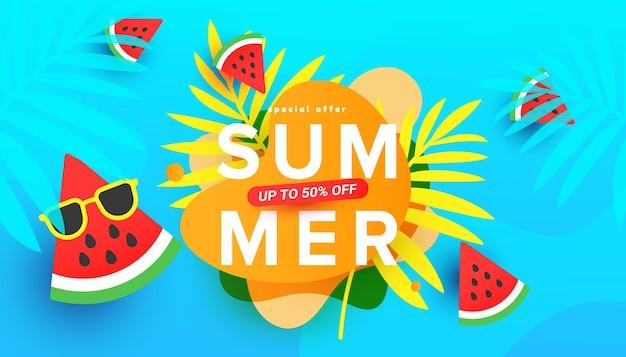 Ilustração de venda de verão com folhas tropicais, fatias de melancia madura