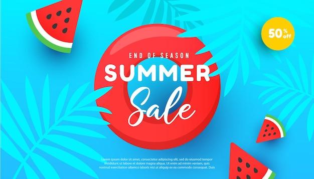 Ilustração de venda de verão com folhas tropicais fatias de melancia