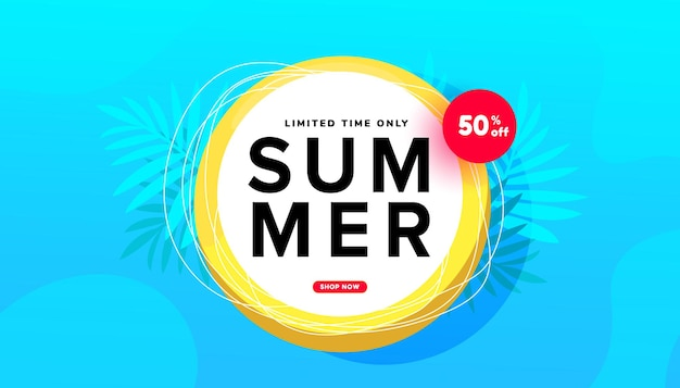 Ilustração de venda de verão com formas de bolhas de folhas tropicais