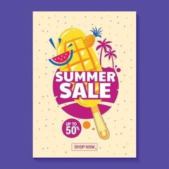 Ilustração de venda de verão com fundo de picolé, praia e folhas tropicais