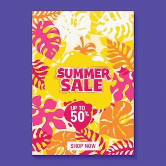 Ilustração de venda de verão com picolé, praia e folhas tropicais