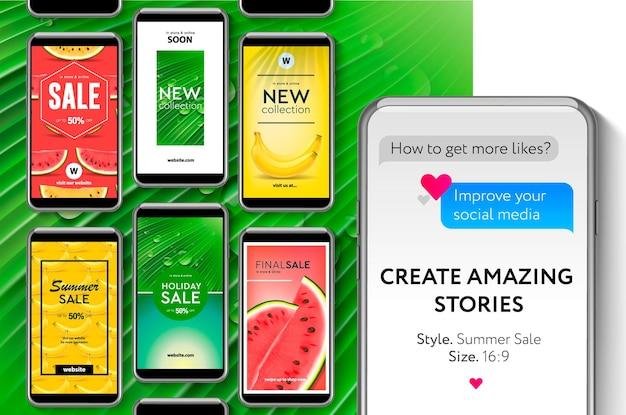 Ilustração de venda de verão do kit de interface do usuário de mídia social