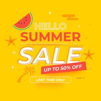 Ilustração de venda de verão plana olá