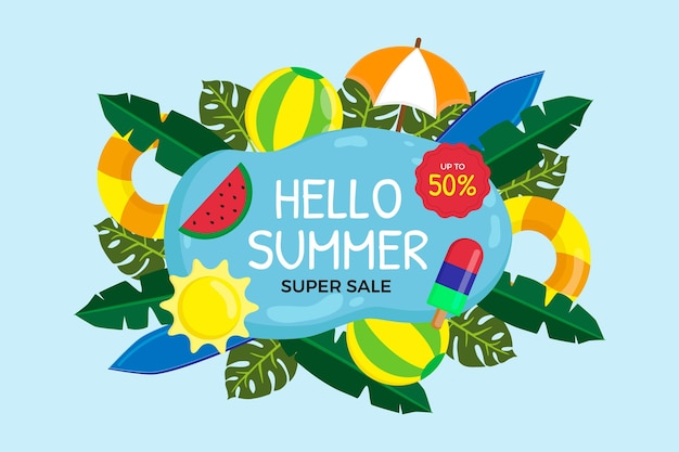 Ilustração de venda de verão plana olá Vetor grátis