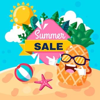 Ilustração de venda de verão plana orgânica Vetor grátis