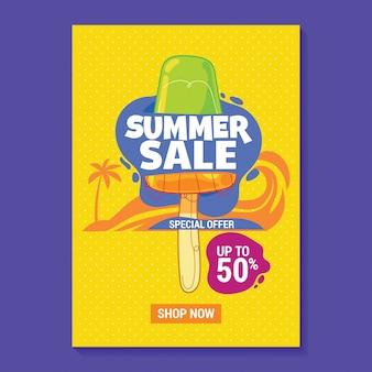 Ilustração de venda de verão poster com picolé, praia e folhas tropicais fundo