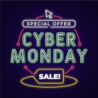 Ilustração de venda neon cyber segunda-feira