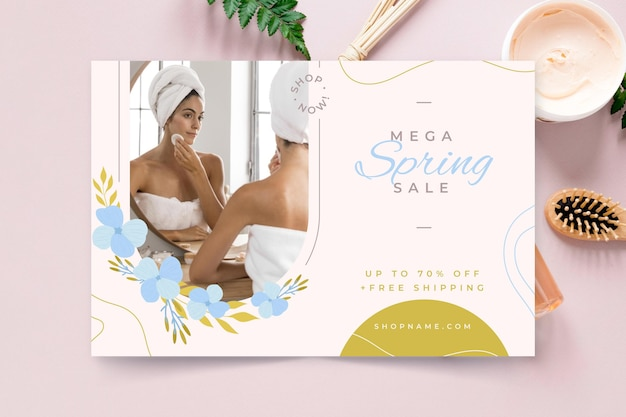 Ilustração de venda plana de primavera
