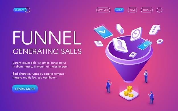 Ilustração de vendas de geração de funil para marketing digital e tecnologia de e-business