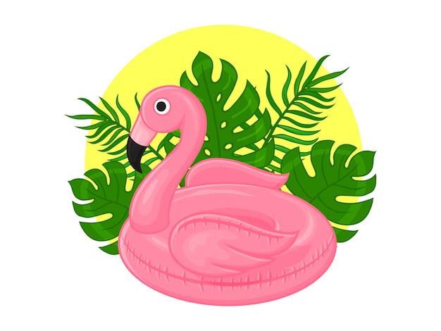 Ilustração de verão. anel de borracha para banho, flamingo e folhas tropicais. estilo de desenho animado.