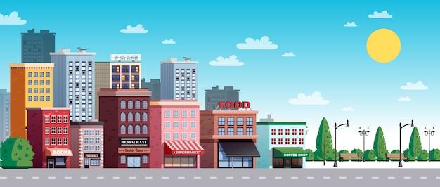 Ilustração de verão cidade rua cidade