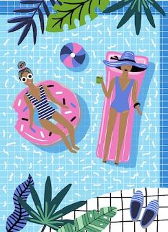 Ilustração de verão com as meninas na piscina.