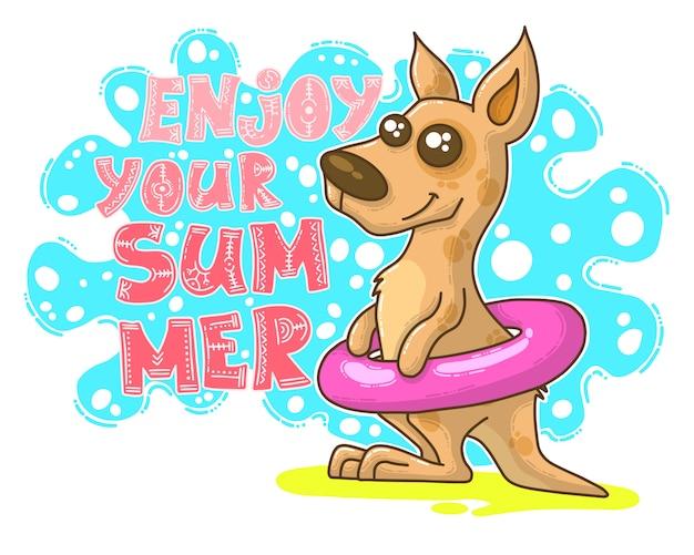 Ilustração de verão com canguru