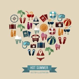 Ilustração de verão com ícones de praia e férias em forma de coração