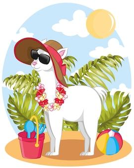 Ilustração de verão com uma lhama fofa