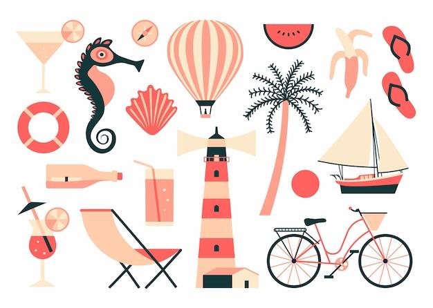 Ilustração de verão, conjunto de ícones