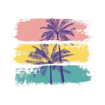 Ilustração de verão de silhuetas de palmeiras com pinceladas coloridas.