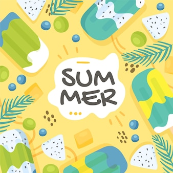 Ilustração de verão desenhada à mão