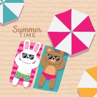 Ilustração de verão dos desenhos animados