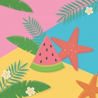 Ilustração de verão e férias com design de elementos de praia