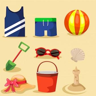 Ilustração, de, verão, elementos, praia