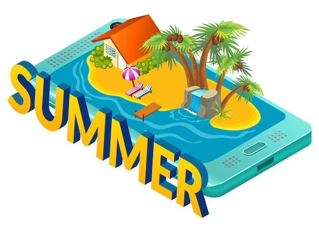 Ilustração de verão em uma ilha tropical no celular