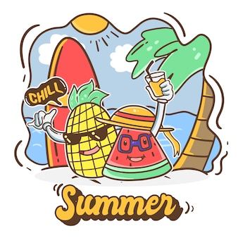 Ilustração de verão fofa de abacaxi e melancia