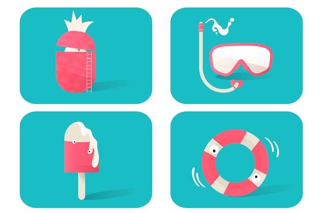 Ilustração, de, verão, ícones, jogo, ligado, experiência azul