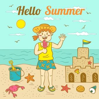 Ilustração de verão olá desenhados à mão