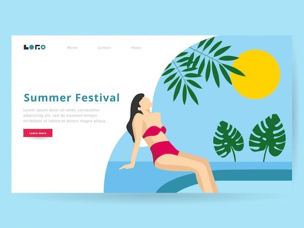Ilustração de verão para a página de destino