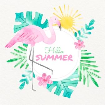 Ilustração de verão pintada à mão em aquarela