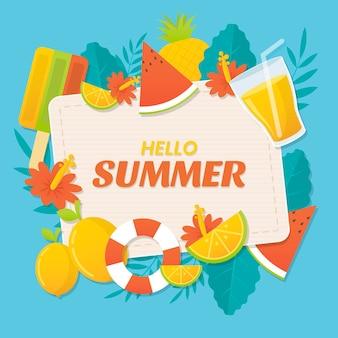 Ilustração de verão plana olá