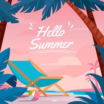 Ilustração de verão plana olá Vetor grátis