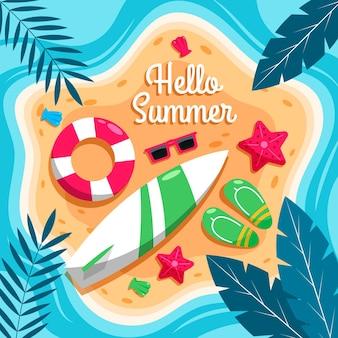 Ilustração de verão plano Vetor grátis