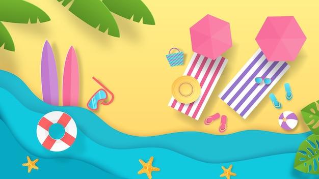 Ilustração de verão praia com corte de papel