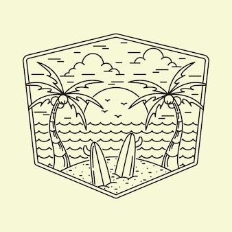 Ilustração de verão praia natureza monoline