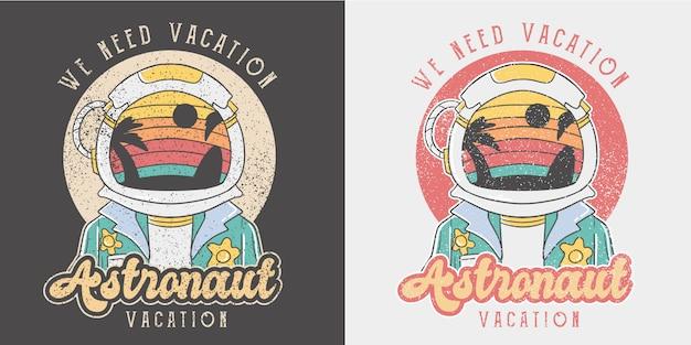 Ilustração de verão retrô de astronauta.