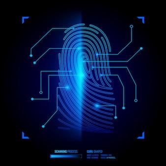 Ilustração de verificação de impressão digital