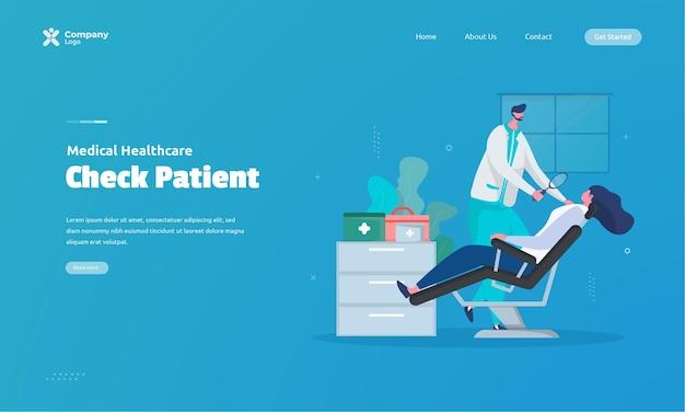 Ilustração de verificação de saúde do paciente no conceito de página de destino