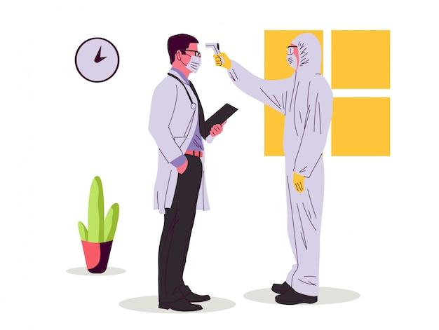 Ilustração de verificação de temperatura corporal